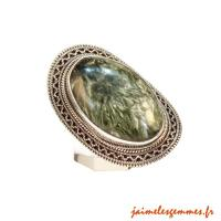 Bague en séraphinite ovale