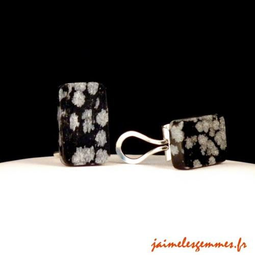 Clips rectangulaires en obsidienne neige