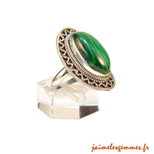 Bague ovale malachite