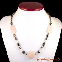 Collier en hématite et quartz rose