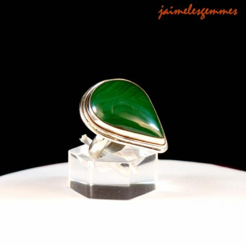 Bague goutte en malachite