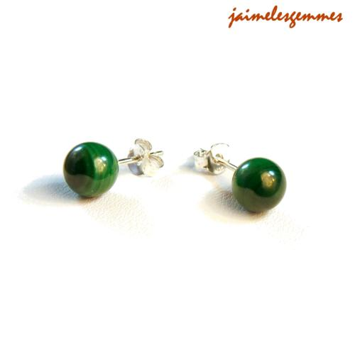 Boucles clou malachite 6mm