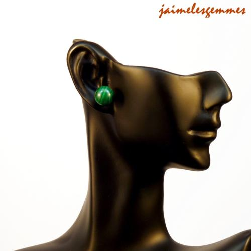 Boucles clou malachite