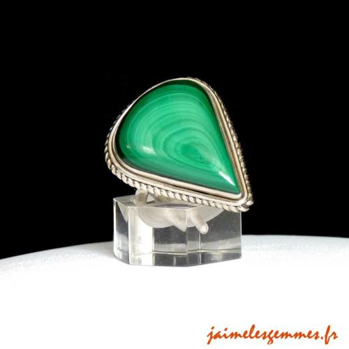 Bague goutte en malachite 2