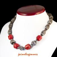Collier corail et perle africaine
