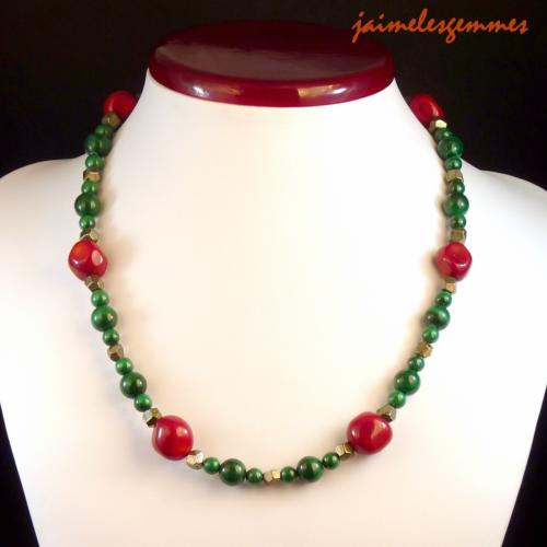 Collier malachite et corail