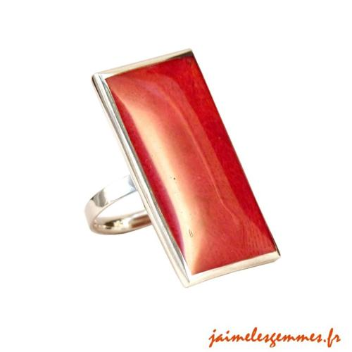 Bague rectangulaire en gorgone corail