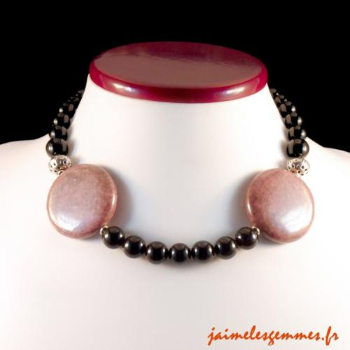 Collier rhodonite et onyx