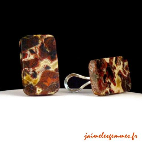 Clips rectangulaires en jaspe 2