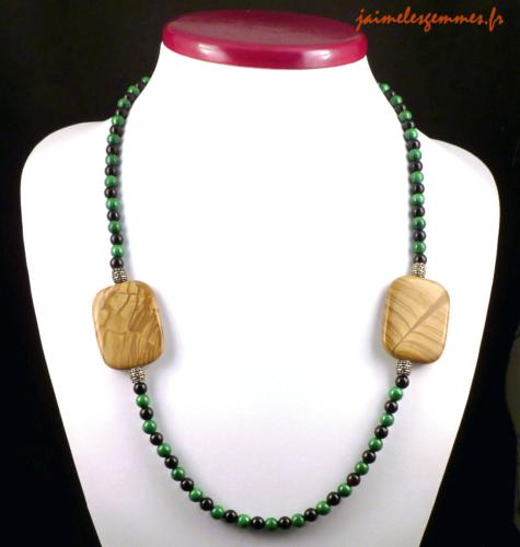 Collier malachite et jaspe
