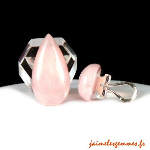 Clip en quartz rose
