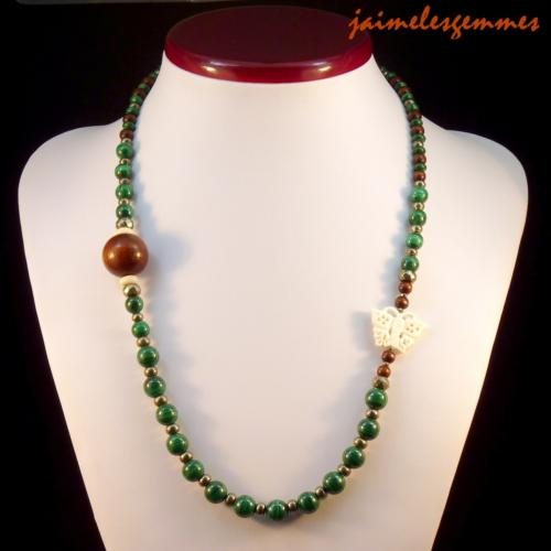 Collier long en malachite