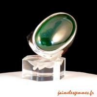 Bague large en malachite
