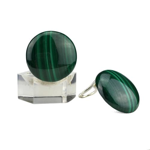 Clips ronds en malachite