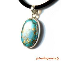 Pendentif ovale turquoise pyrite